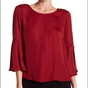 Vince Camuto satin bell sleeve top, NWT, Large